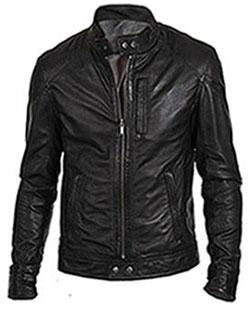Black Motorcycle Biker Leather Jacket 11