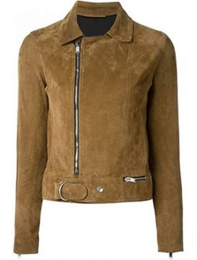 Ladies Suede Leather Jacket With Zippers