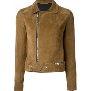 Ladies Light Brown Goat Suede Leather Jacket with Zippers 11