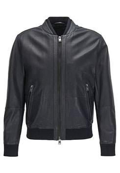 Mens Bomber jacket In Perforated Leather