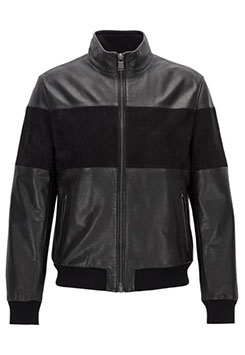Regular-Fit Jacket In Cowhide Leather And Suede