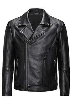 Slim-Fit Biker Style Jacket in Nappa Leather
