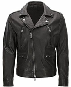 Slim-fit-cowhide-leather-biker-jacket