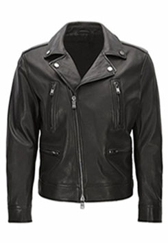 Slim Fit Cowhide Leather Biker Style Jacket