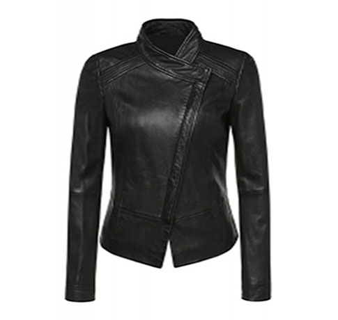 cross front ladies sheep leather jacket